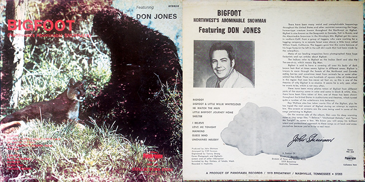 "Cover of album ""Bigfoot: Northwest's Abominable Snowman,"" featuring singer Don Jones."
