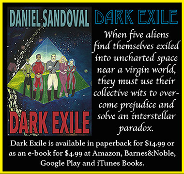 Advertisement for Daniel Sandoval's novel Dark Exile.