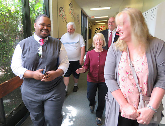 U.S. Sen. Patty Murray, center, tours the Toledo High School on May 29 with her press secretary Michael Brewer, left, Toledo Mayor Steve Dobosh,