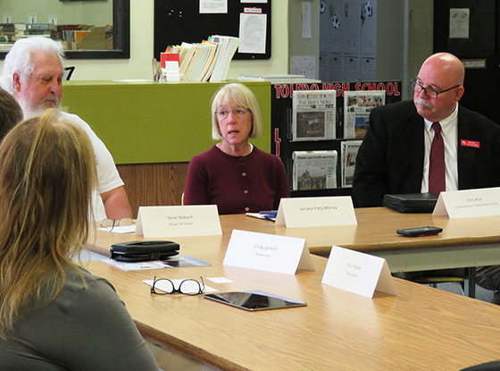 U.S. Sen. Patty Murray hosts a roundtable with Toledo leaders on May 29 at Toledo High School. Photo by Jake Morgan / Lewis County Tribune